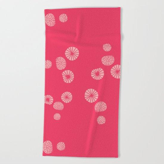 Dandelion flying hot pink Beach Towel