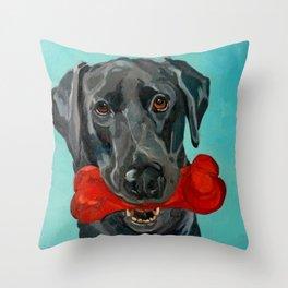 Ozzie the Black Labrador Retriever Throw Pillow