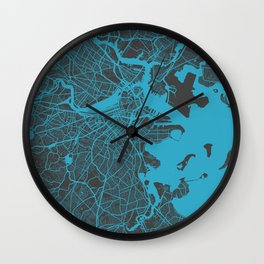 Boston map blue Wall Clock