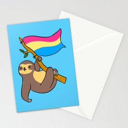 Pansexual Sloth With Pansexual Flag Stationery Cards
