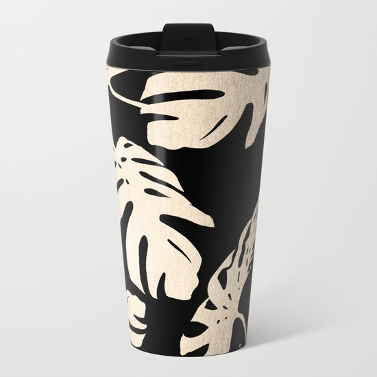Simply Palm Leaves in White Gold Sands on Midnight Black Metal Travel Mug