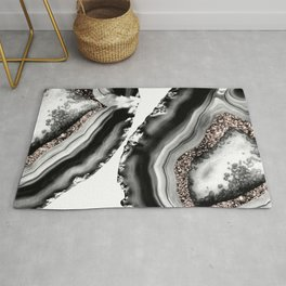 Agate Rose Gold Glitter Glam #2 #gem #decor #art #society6 Rug