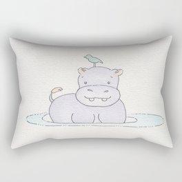 Watercolor Hippo Rectangular Pillow
