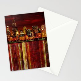 Chicago Night Skyline Stationery Cards