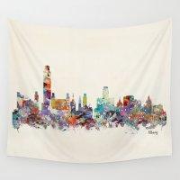 new york skyline Wall Tapestries featuring Albany new york skyline by bri.buckley