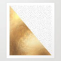 gold dots Art Prints featuring Gold and Polka Dots by Jenna Davis Designs