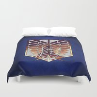 shingeki no kyojin Duvet Covers featuring Eren by TxzDesign