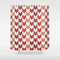 foxes Shower Curtains featuring Foxes  by creaziz