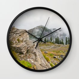 Alpine Ridgeline Trail Woods Forest Mountain Mist Washington Northwest Outdoors Nature Geology Wall Clock
