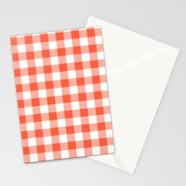 Jumbo Living Coral Color of the Year Orange and White Buffalo Check Plaid Stationery Cards