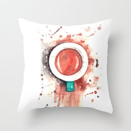 Cup of Coffee watercolor painting Throw Pillow
