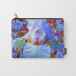 PASTEL IRIS & BLUE MORNING GLORIES PINK PATTERNS Carry-All Pouch