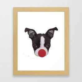 Boston Terrier Christmas Reindeer Framed Art Print
