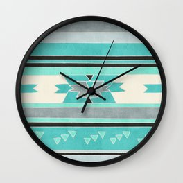 Rustic Tribal Pattern in Teal, Charcoal and Cream Wall Clock