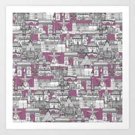 Paris toile raspberry Art Print