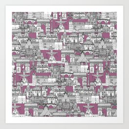 Paris toile raspberry Art Print
