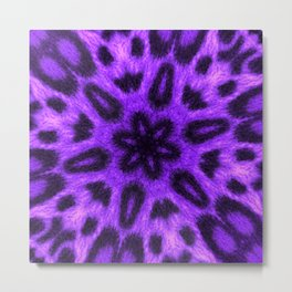 Spotted Lavender Leopard Kaleidoscope Metal Print