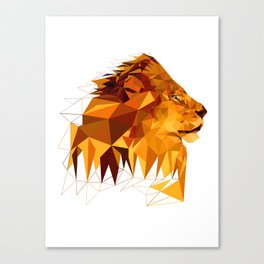 Geometric Lion Wild animals Big cat Low poly art Brown and Yellow Canvas Print