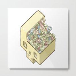 FlowerSkull Metal Print