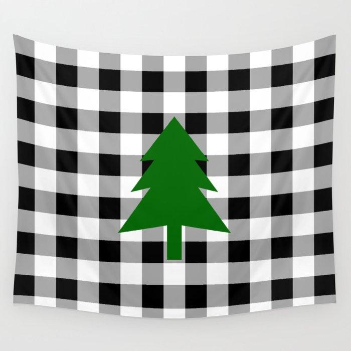 Buffalo Check Christmas Decor.Christmas Tree Black Buffalo Check Wall Tapestry By Lovelylifestyle
