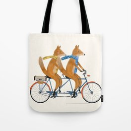 foxes lets tandem Tote Bag