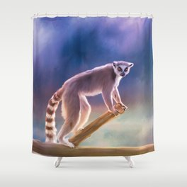 Cute painted Ring-tailed lemur Shower Curtain