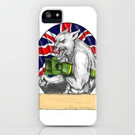 White Wolf Holding Bomb British Flag Tattoo iPhone Case
