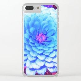 Pretty Blue Zinnia in the Purple Summer Garden Clear iPhone Case