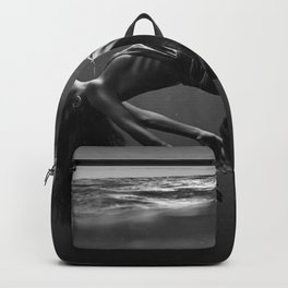 Woman under the waves of the deep blue sea black and white photograph / art photography Backpack