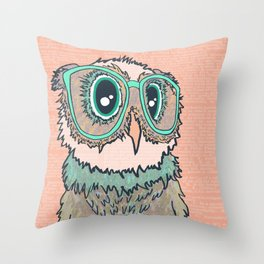 Owl wearing glasses II Throw Pillow