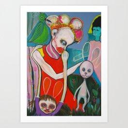How a bunny explains an artist garden`s pleasure Art Print