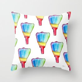 Paint Your Life With Your Colors - colorful rainbow paint brush positive quote Throw Pillow