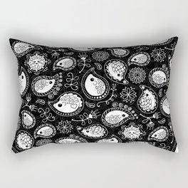 Hedgehog Paisley_White and Black Rectangular Pillow