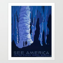 Carlsbad Caverns, New Mexico Travel and Tourism Poster, 1939 Art Print