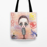 jennifer lawrence Tote Bags featuring Jennifer Lawrence by Joana Pereira