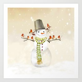 Snowman and Birds Art Print