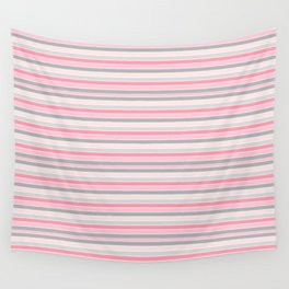 Gray and Pink Striped Pattern Wall Tapestry