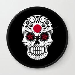 Sugar Skull with Roses and Flag of Japan Wall Clock