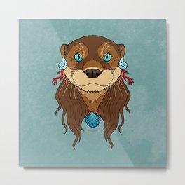 Tribal Otter Metal Print