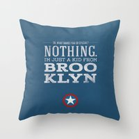 steve rogers Throw Pillows featuring Steve Rogers by Bonnie Detwiller