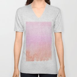 Abstract blush pink coral orange watercolor ombre Unisex V-Neck