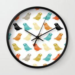Colorful Birds Danish Modern Retro Wall Clock