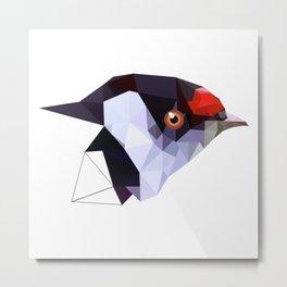 Geometric bird Tangarazinho Black Gray red Metal Print