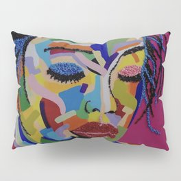 Pop Art woman face colors Fauve Lady 1 rock Pillow Sham