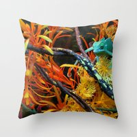 chameleon Throw Pillows featuring Chameleon by Geni