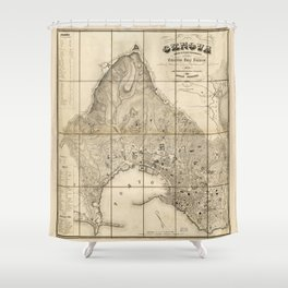 Map of Genoa, Italy (1853) Shower Curtain