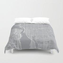 Portland Map, Oregon USA - Pewter Duvet Cover