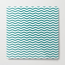 Teal and White Chevron Wave Metal Print