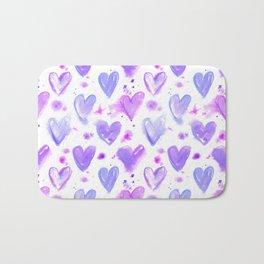 Purple Passion Watercolor Hearts Bath Mat