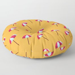 Cartoon Tropical Island Beach Red and White Parasols On Sand Floor Pillow